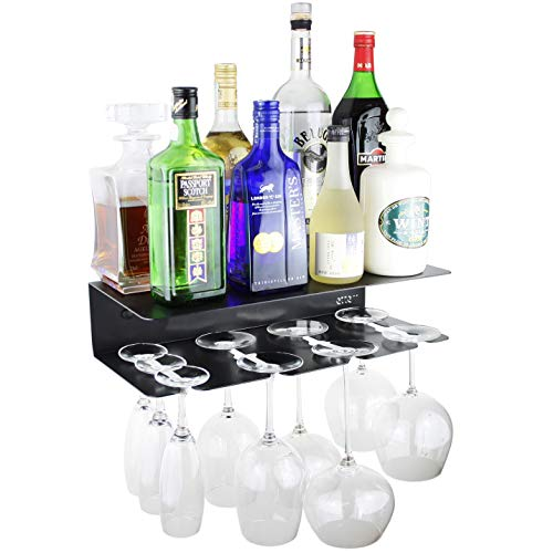 etterr Mueble Bar. Estante de Pared para Copas y Botellas. Fabricado en España. (Negro)