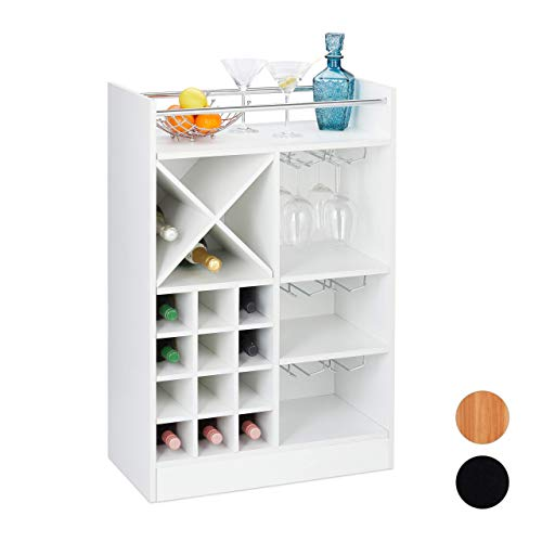 Relaxdays Botellero Grande para 22 Botellas Vino, Mueble Bar, De Pie, Tablero Aglomerado, 1 Ud, 96 x 63 x 35 cm, Blanco